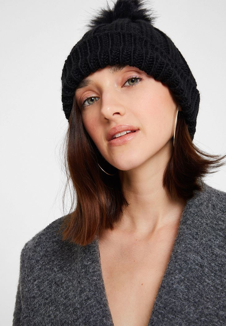 Black Beret with Pompom Detail