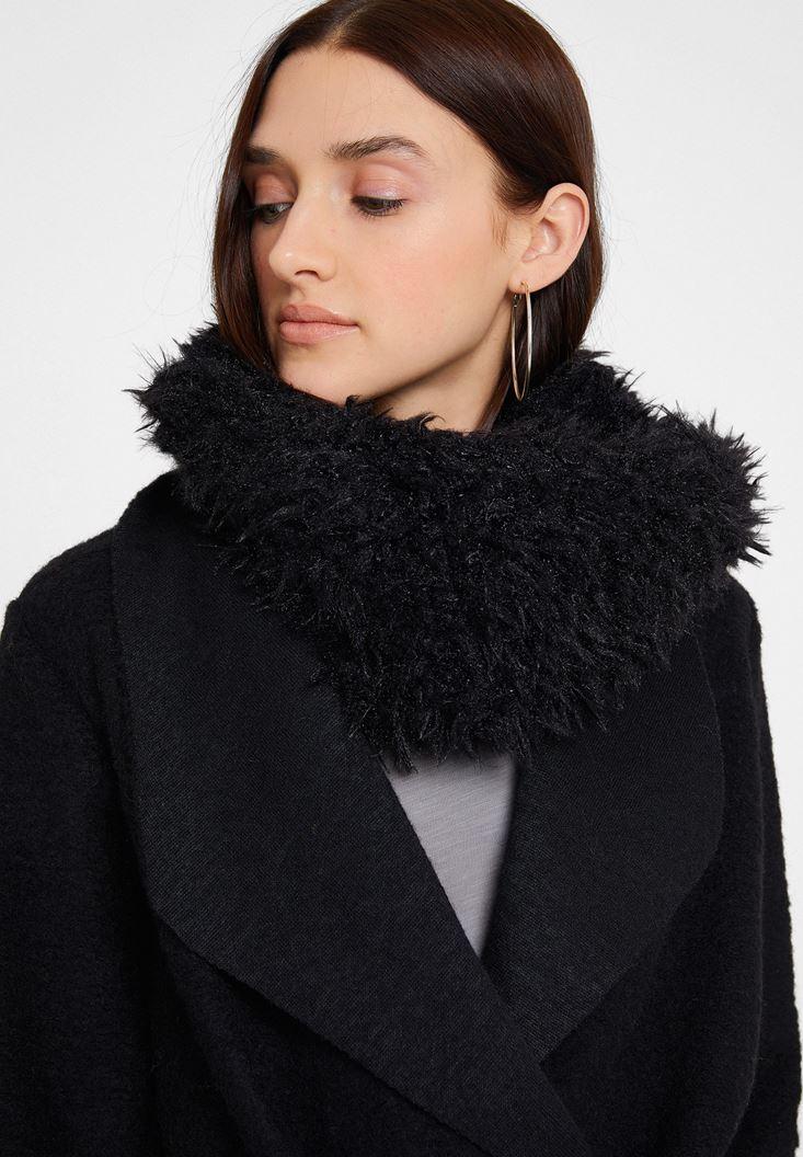 Black Faux Furry Shawl