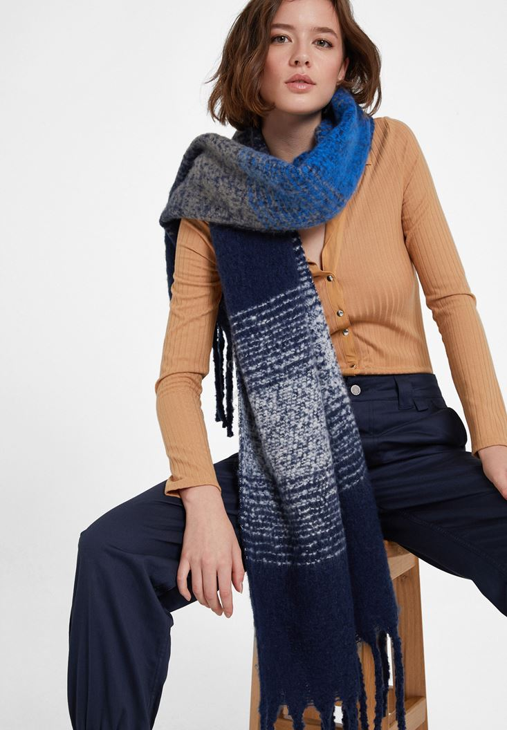Navy Mix Color Scarf with Detail