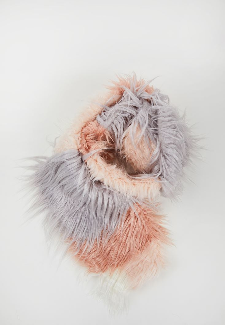 Mix Color Faux Fur Shawl