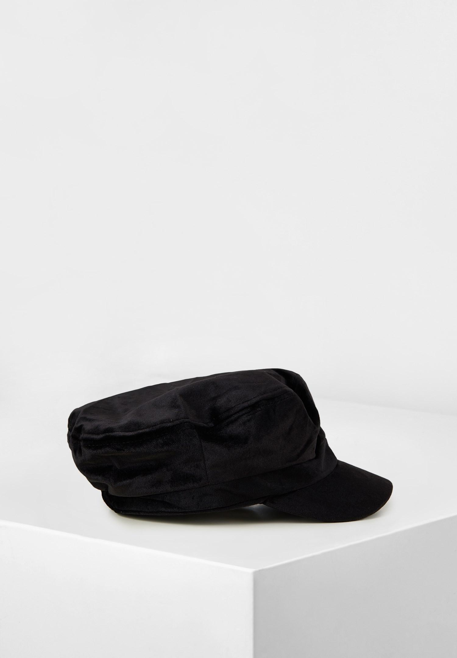 Bayan Siyah Dokulu Kadife Şapka