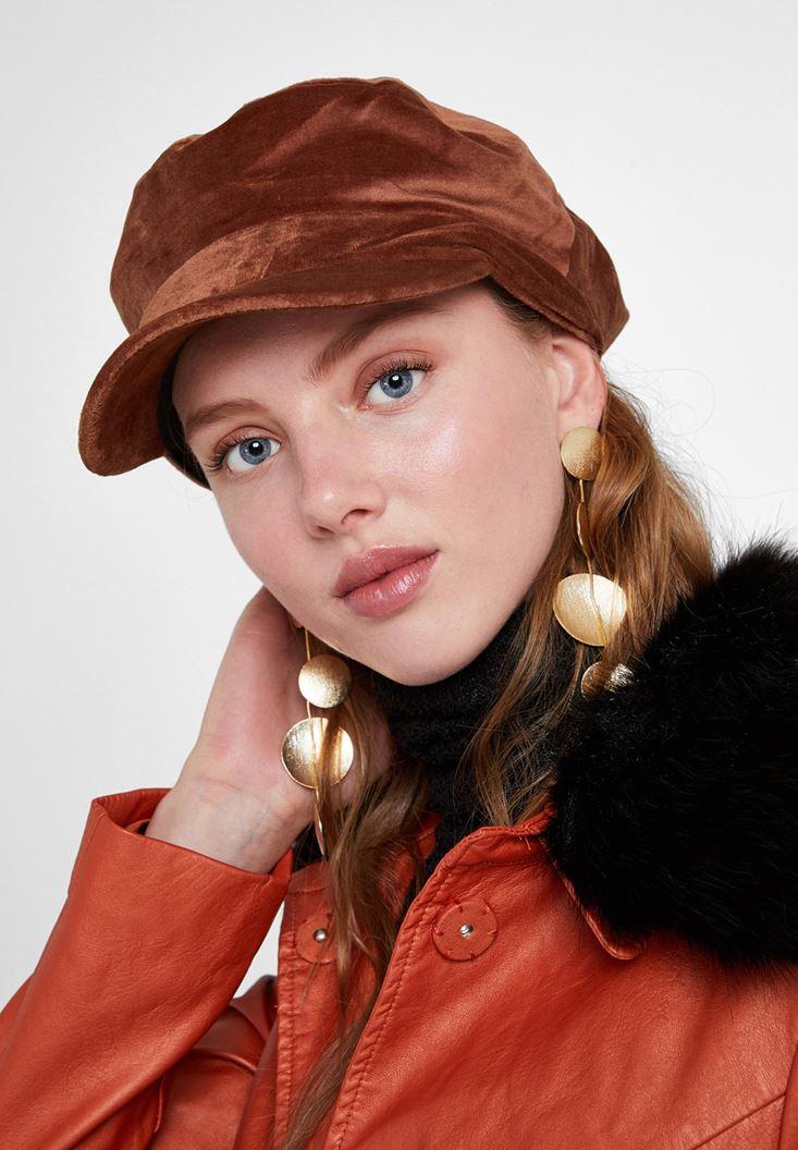 Kahverengi Dokulu Kadife Şapka