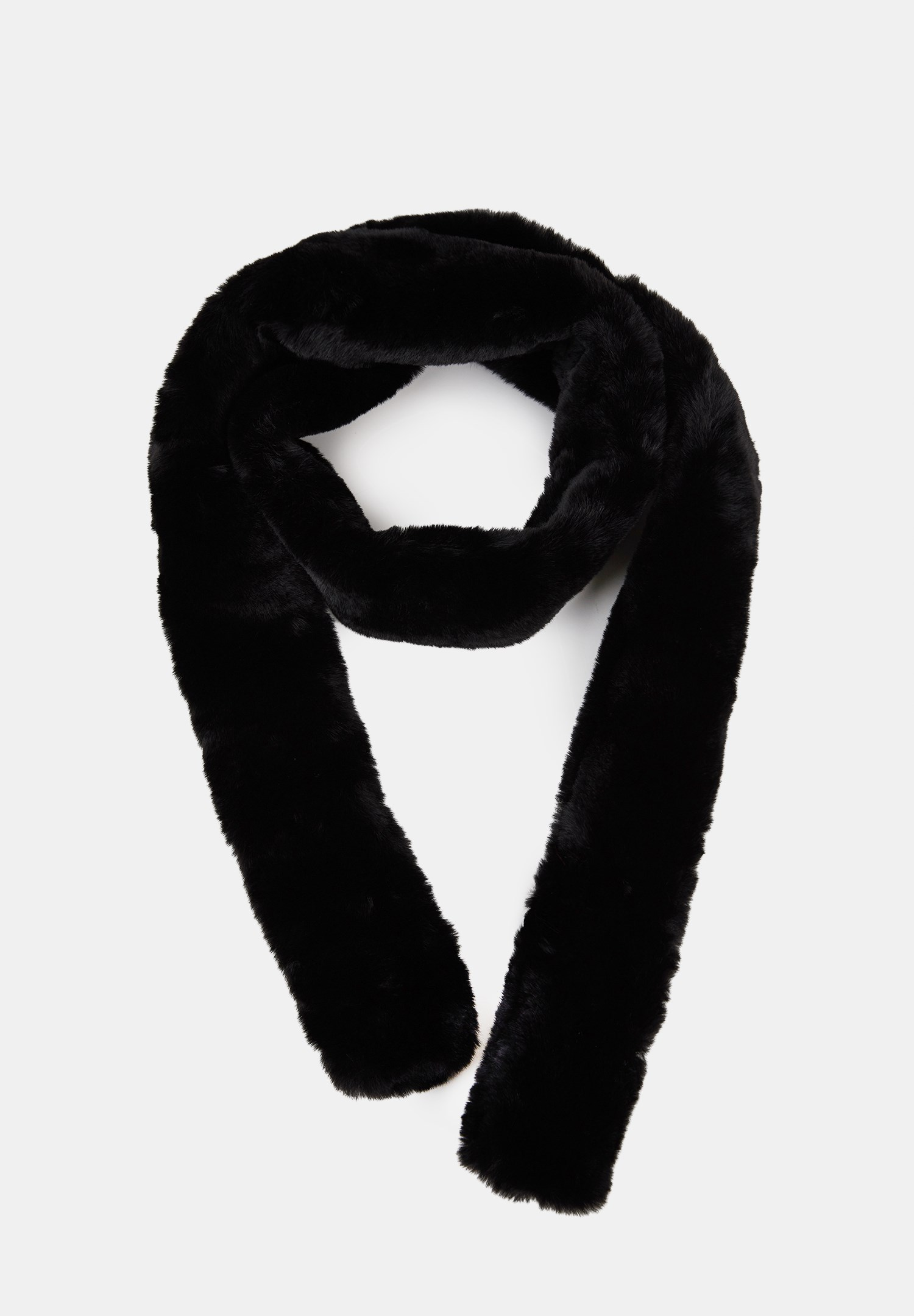 Women Black Long Faux Fur Shawl