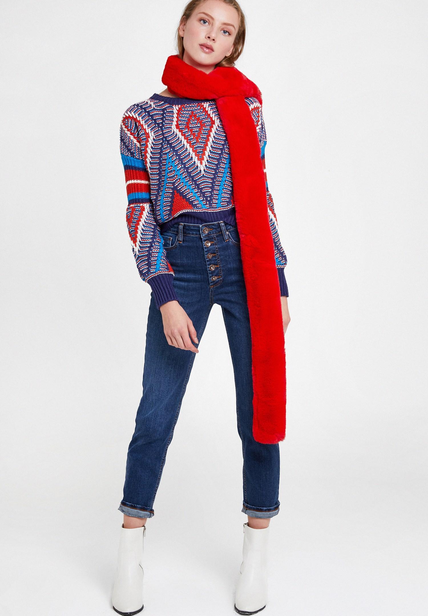 Bayan Kırmızı Uzun Suni Kürk Şal