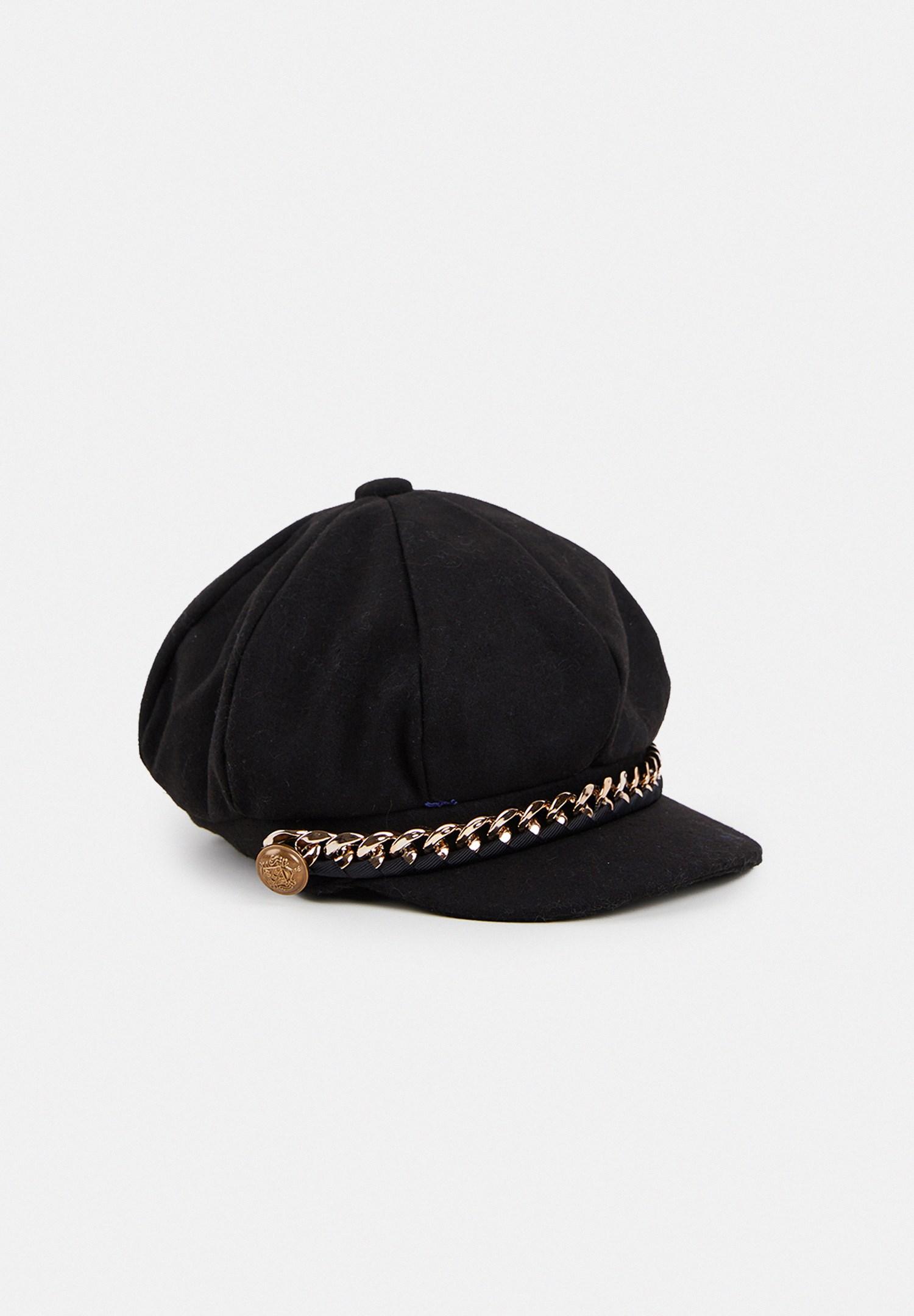 Women Black Nautıcal Cap with Chain