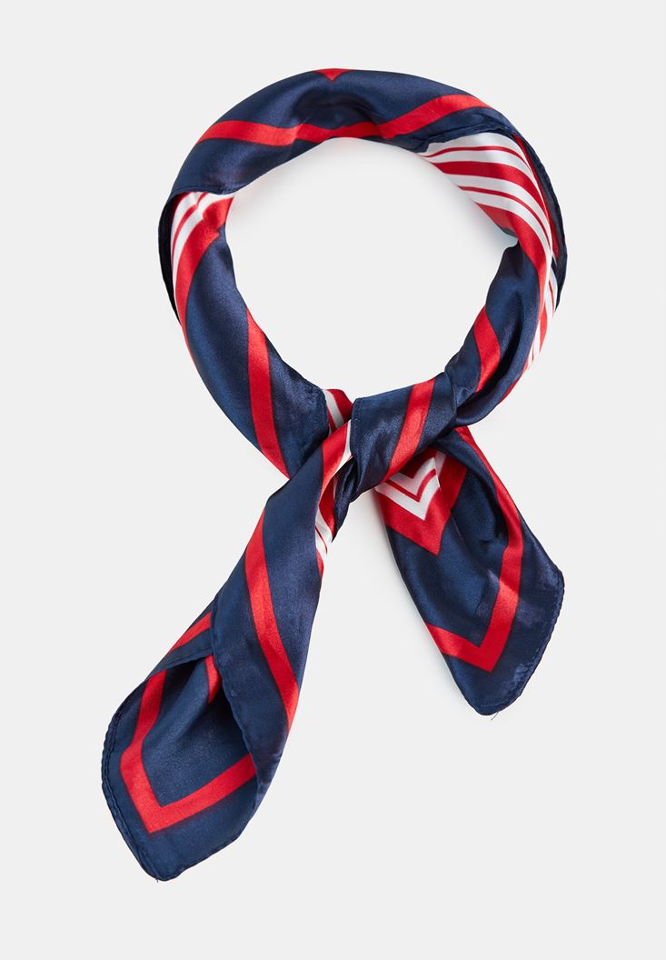 Navy Striped Scarf with Mix Color