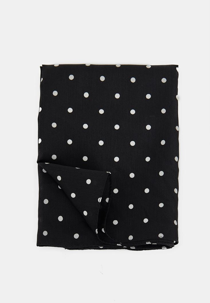 Black Polka Dot Scarf with Details