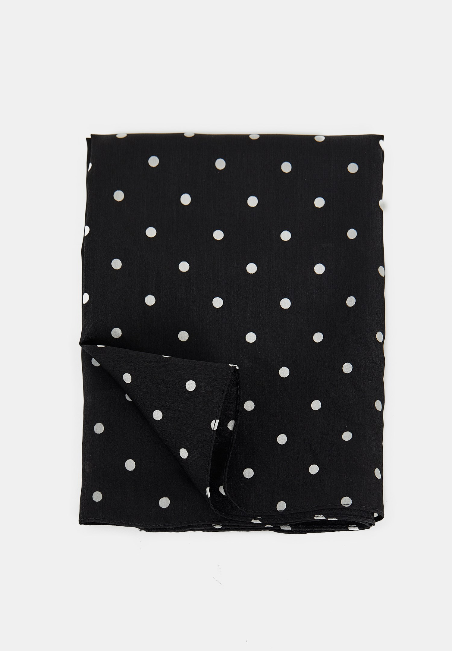 Women Black Polka Dot Scarf with Details