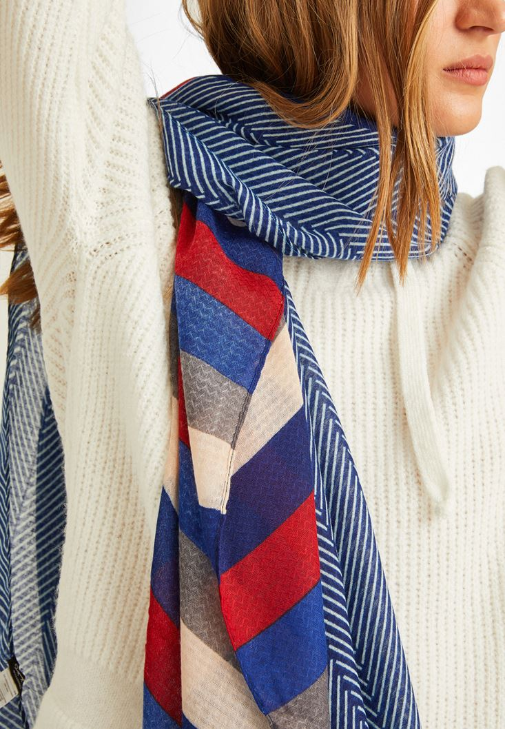 Mixed Scarf with Mix Pattern and Stripe