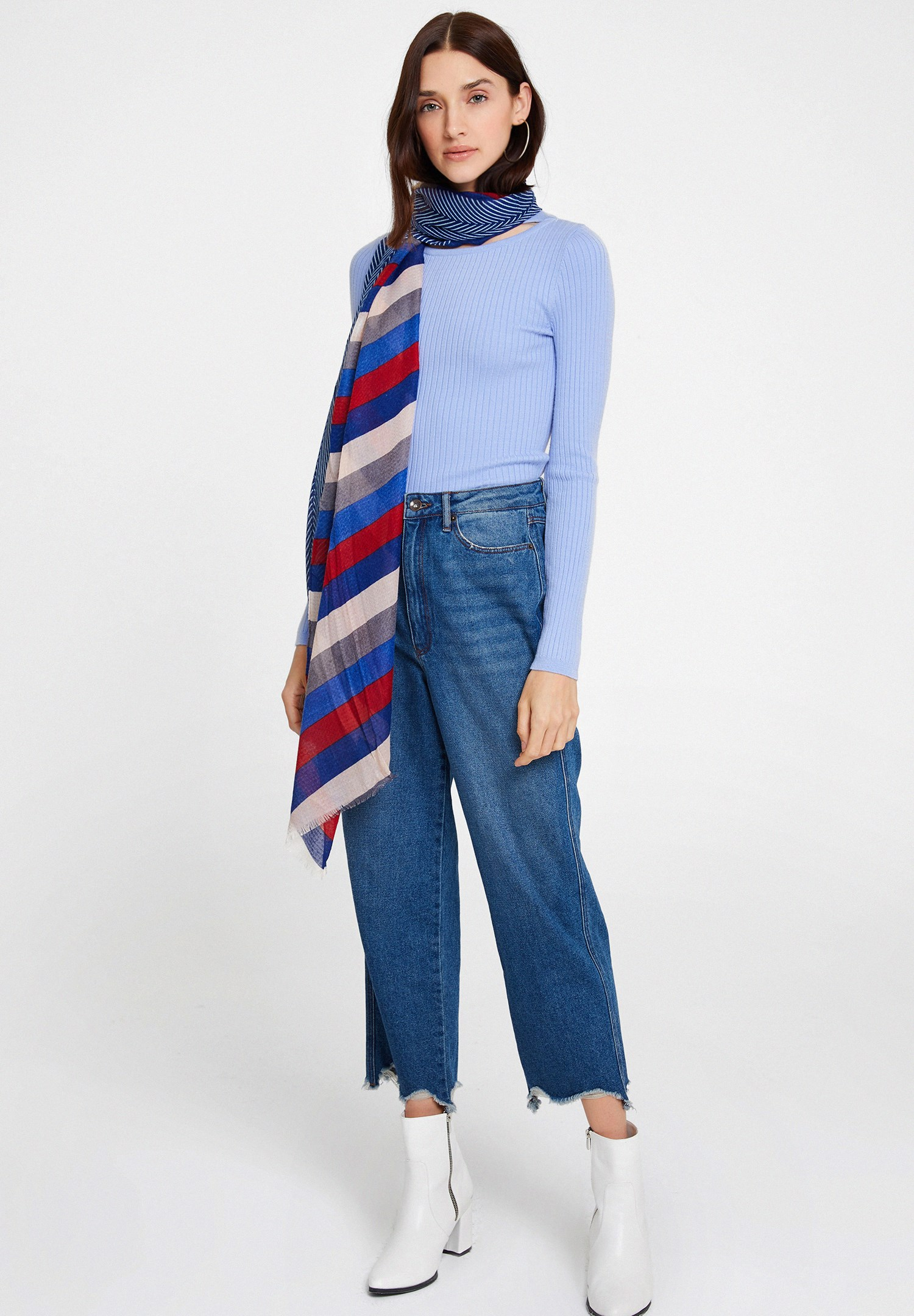Women Mixed Scarf with Mix Pattern and Stripe
