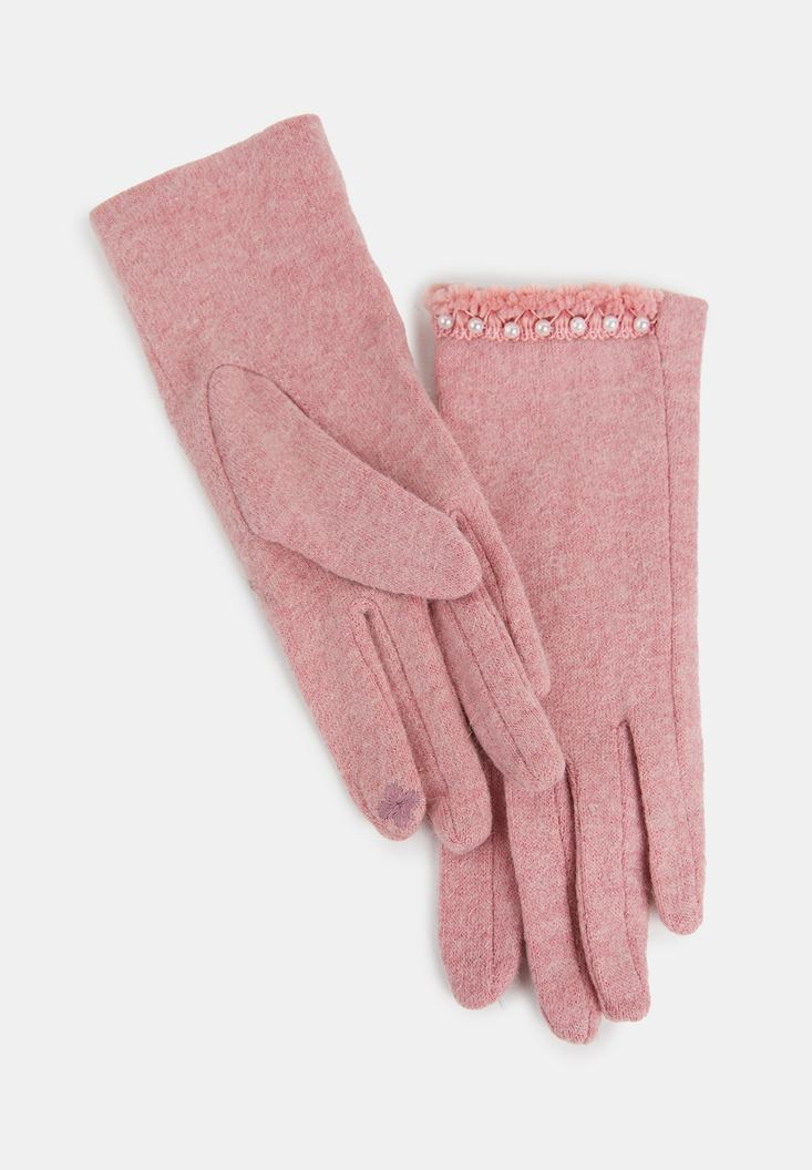 Pink Gloves with Pearls