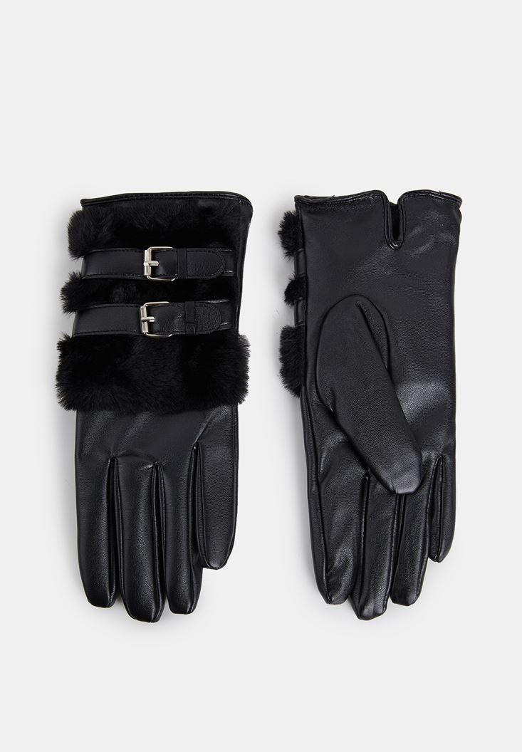 Black Gloves with Faux Fur and Buckle