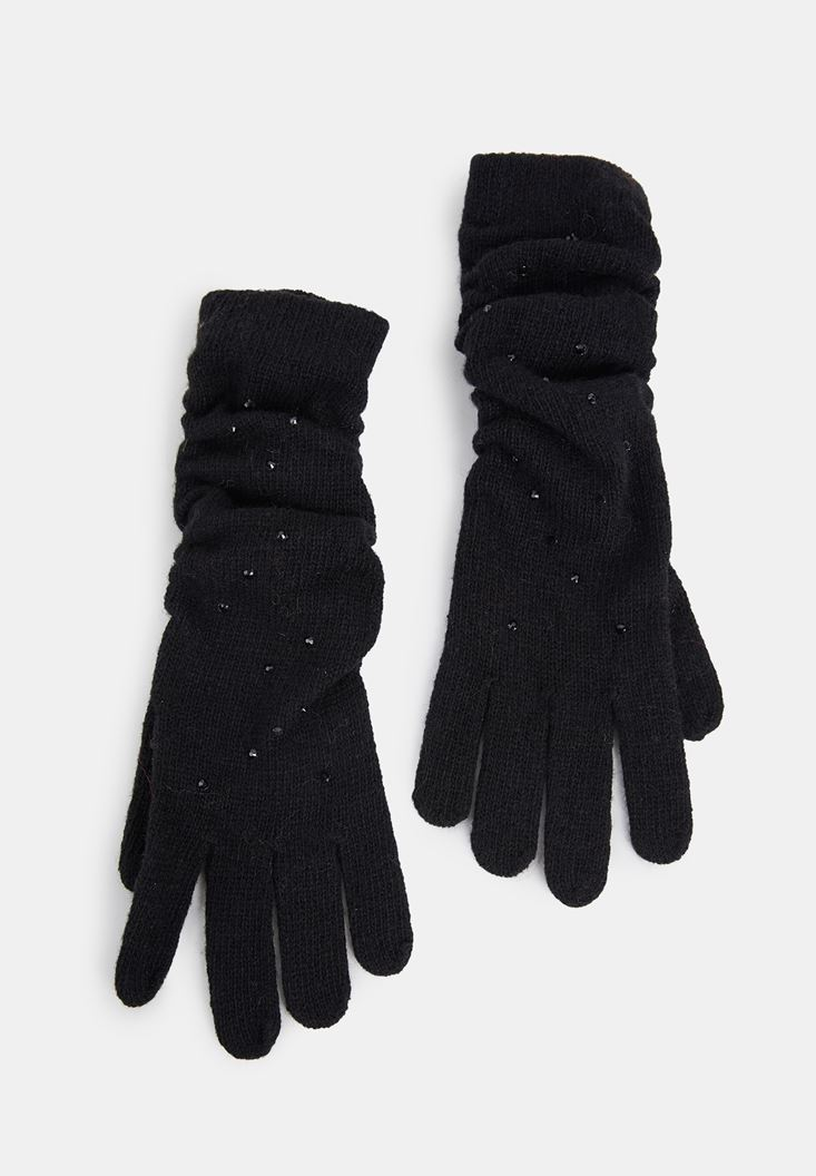 Black Gloves with Sequins