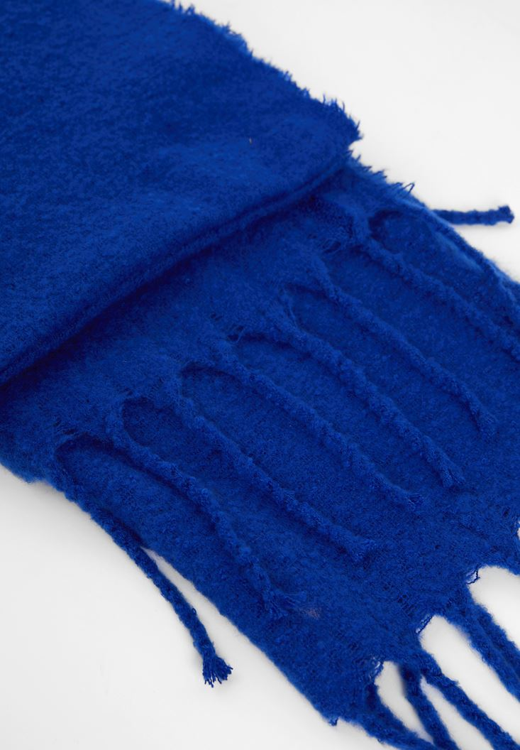 Blue Shawl with Tassel Detail