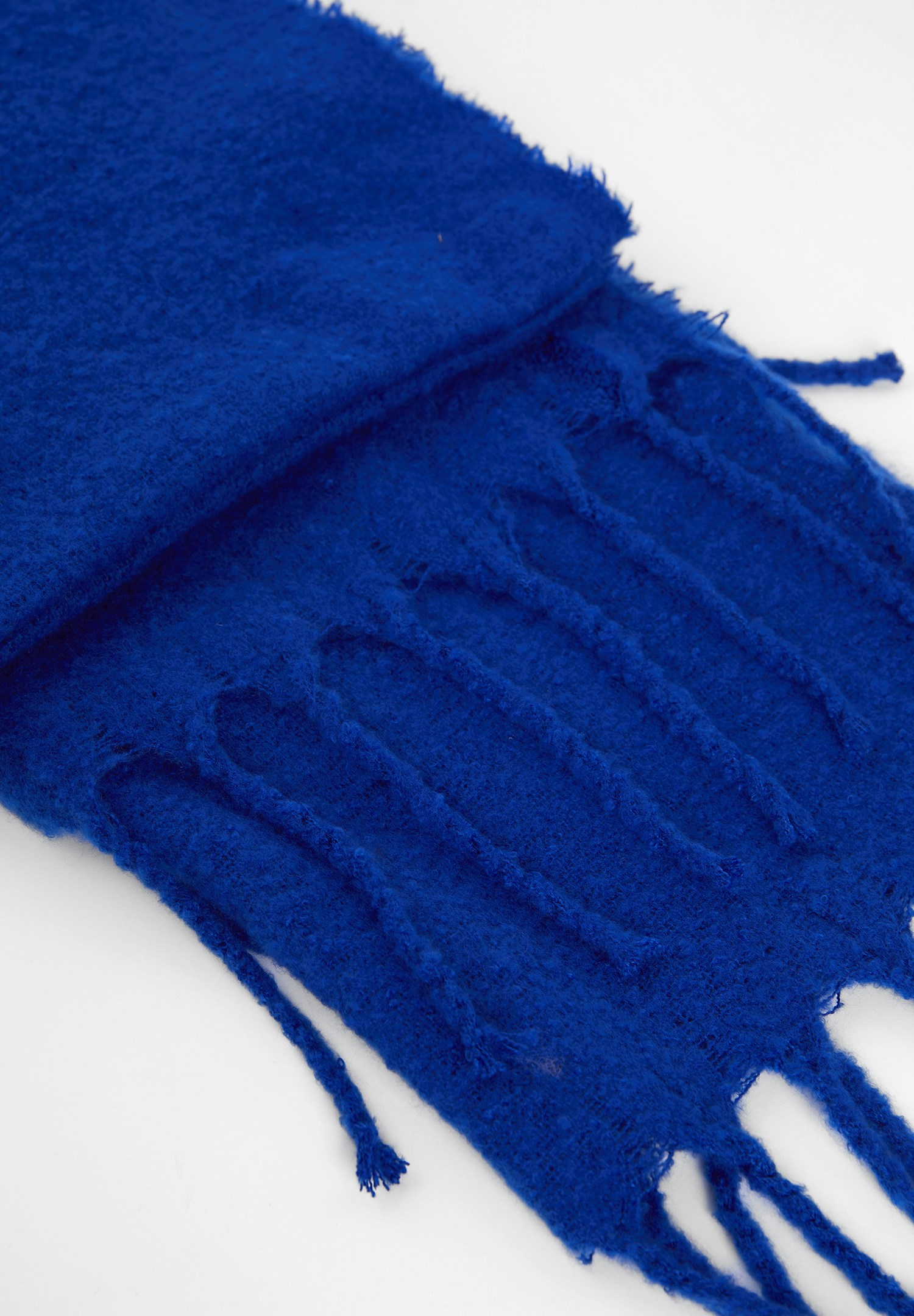 Women Blue Shawl with Tassel Detail