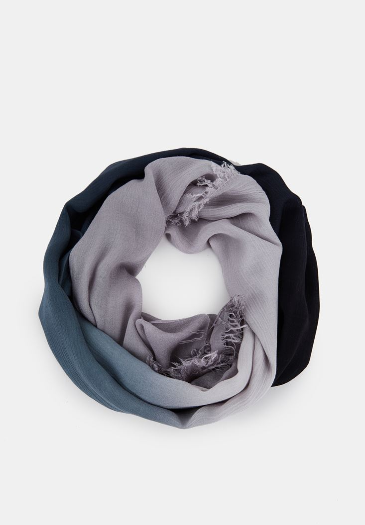 Black Scarf with Mix Color Details