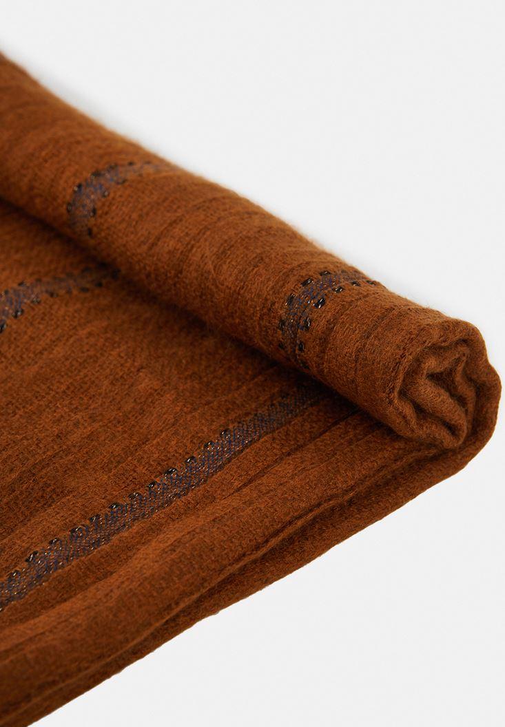 Kahverengi Sim Şerit Detaylı Şal