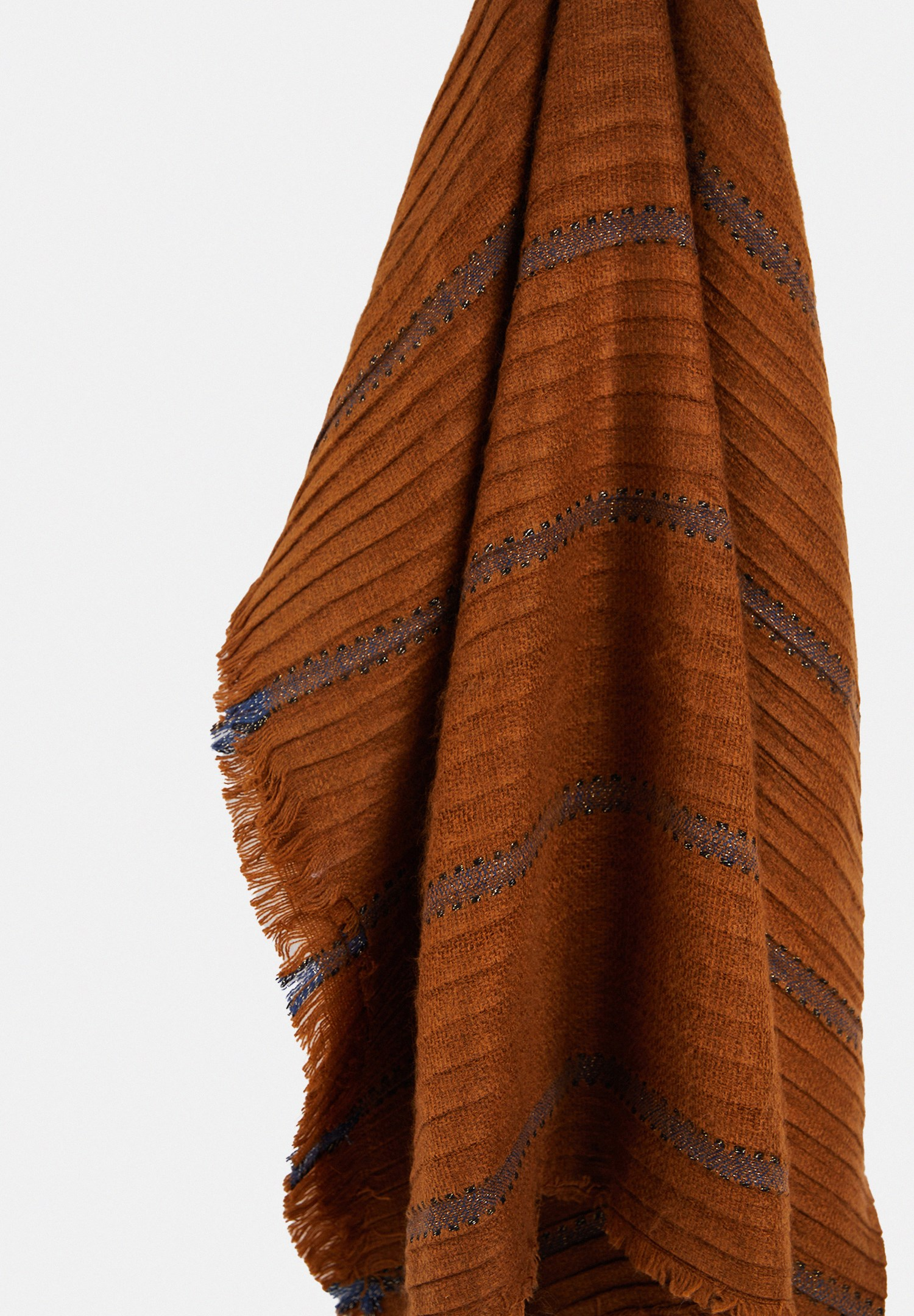 Women Brown Shawl with Shiny Line Detail