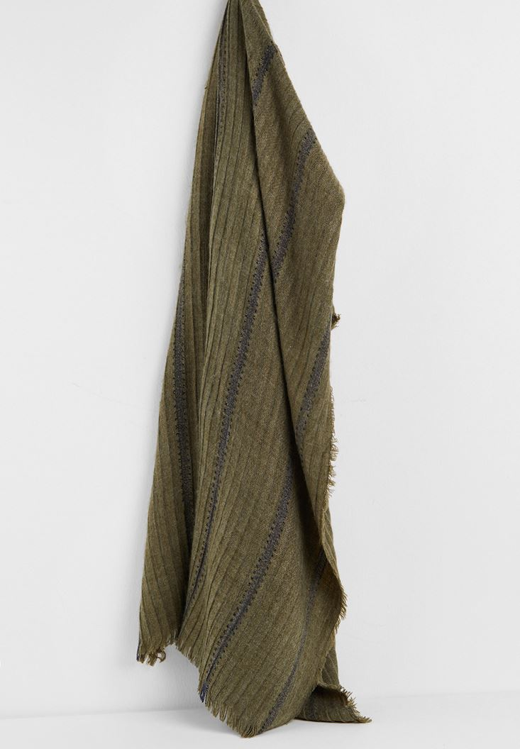 Green Shawl with Shiny Line Detail
