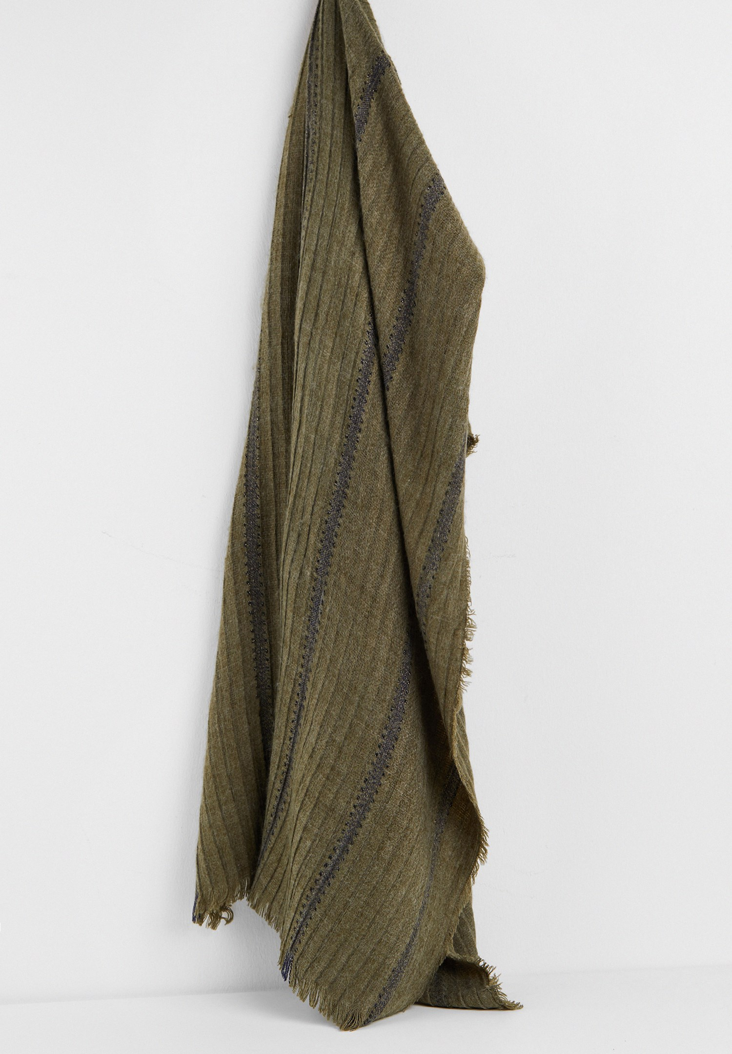 Women Green Shawl with Shiny Line Detail
