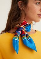 Women Mixed Striped Scarf with Detail