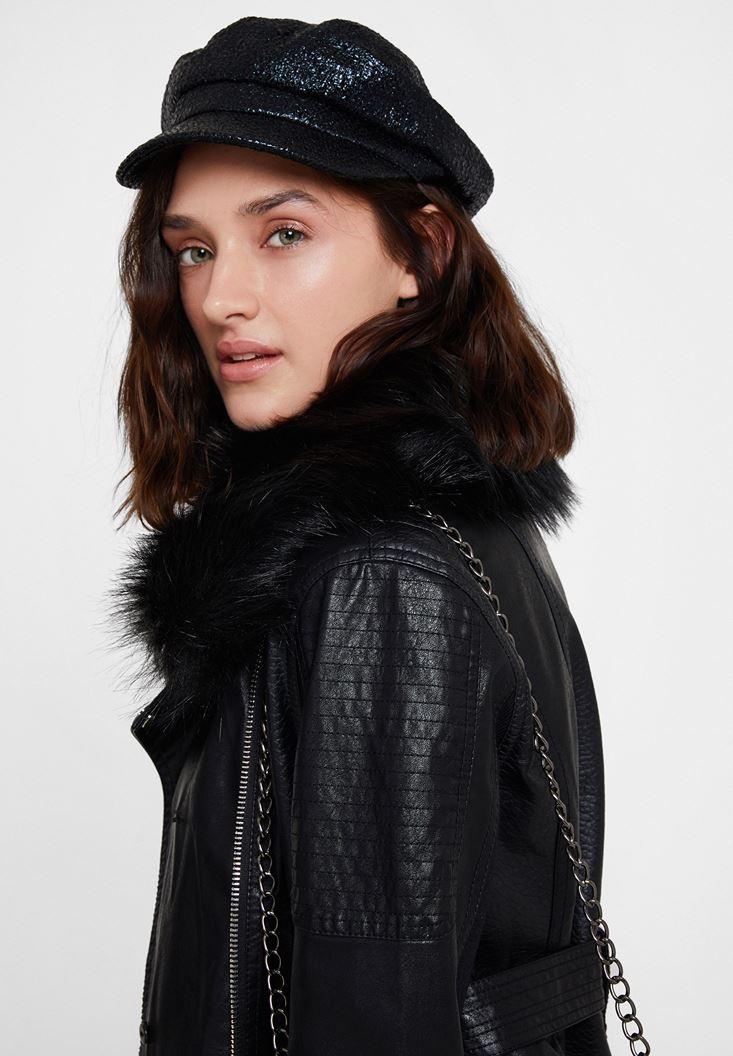 Siyah Parlak Detaylı Cap