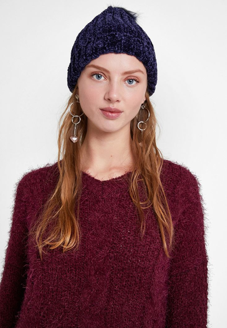 Navy Chenille Beanie with Pompom Detail
