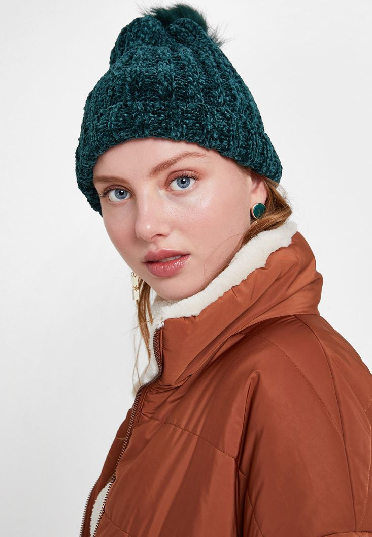 Green Chenille Beanie with Pompom Detail