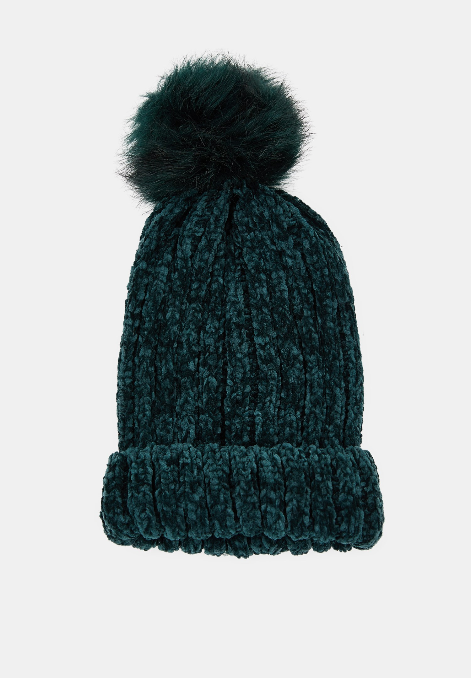 Women Green Chenille Beanie with Pompom Detail
