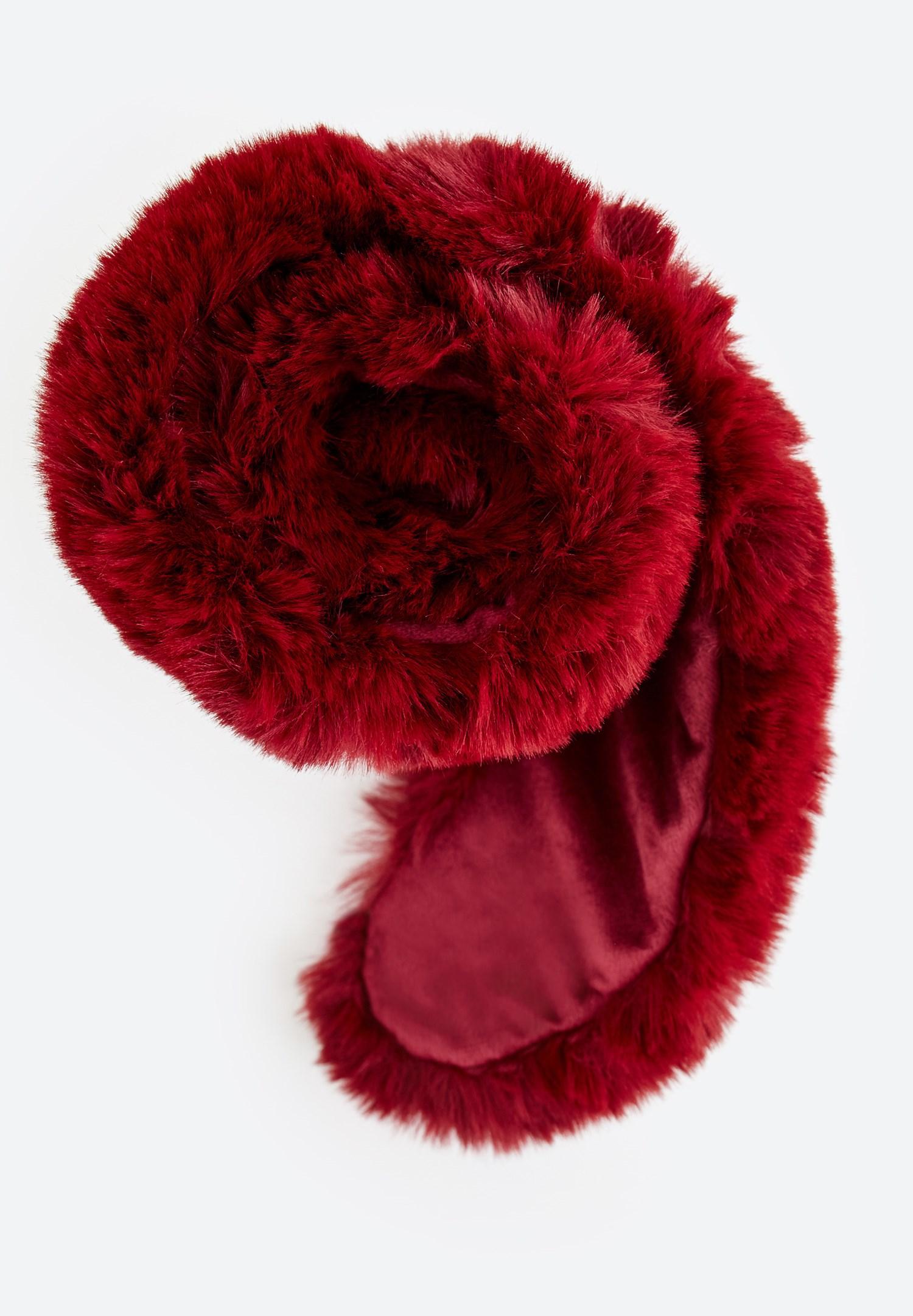 Women Bordeaux Faux Fur Scarf