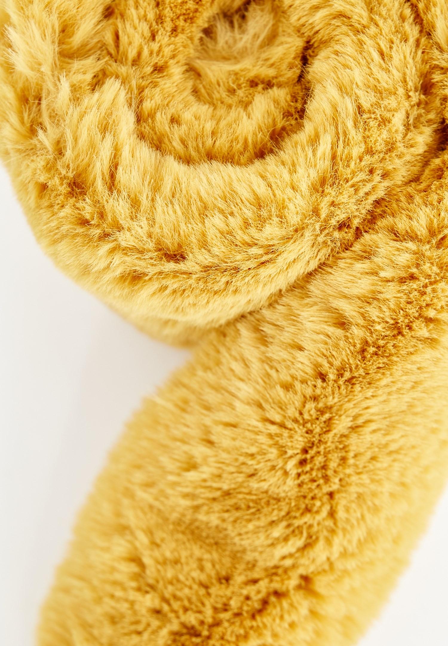 Bayan Sarı Suni Kürk Detaylı Atkı