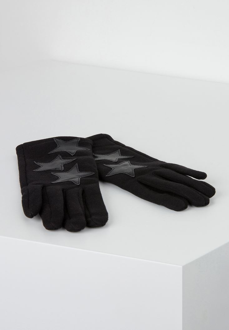 Black Glove with Star Applique