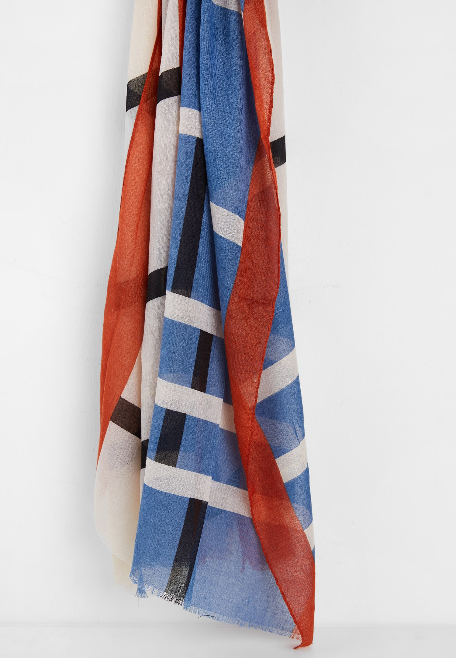Women Mixed Scarf with Stripe Pattern