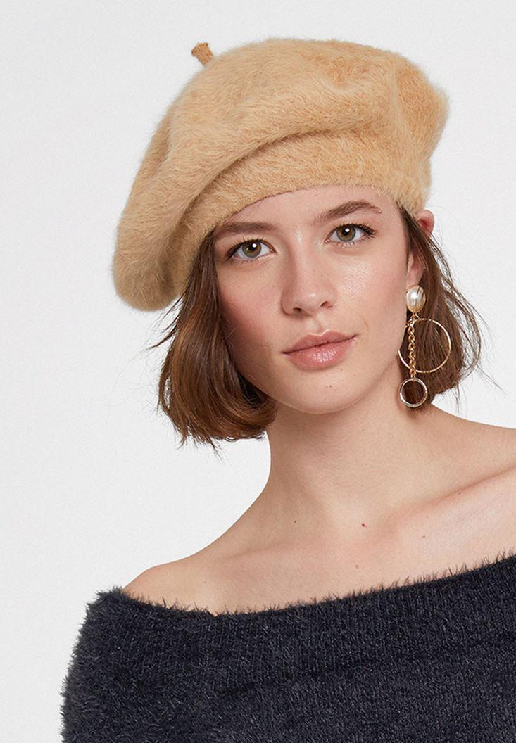 Kahverengi Yün Karışımlı Şapka