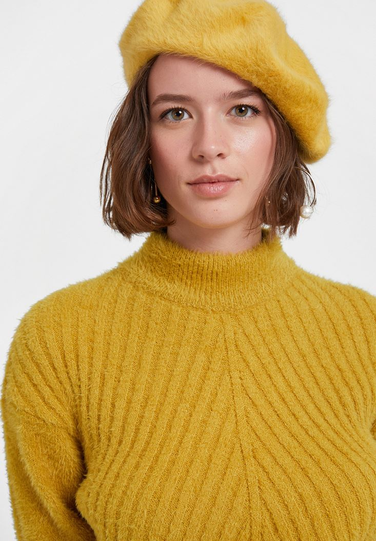 Yellow Faux Shearling Cap
