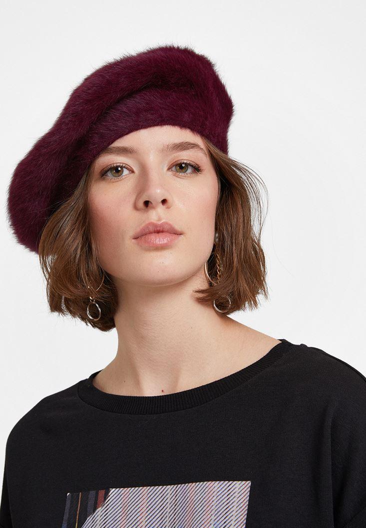 Bordo Yün Karışımlı Şapka