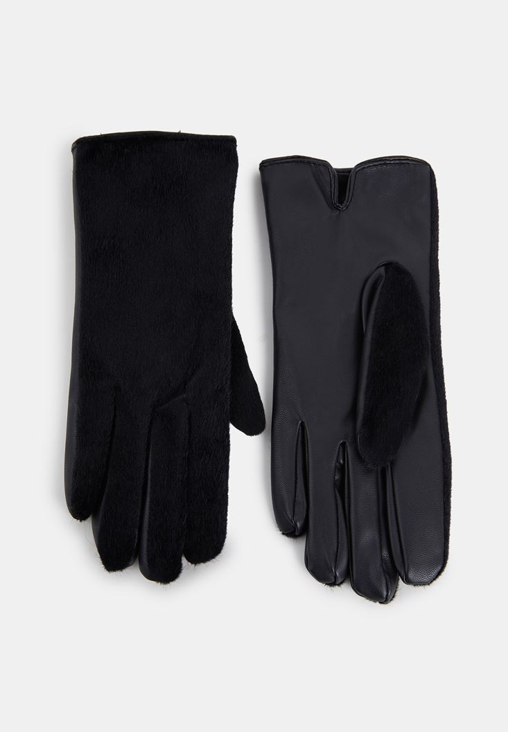 Black Leather Gloves with Fur Detail