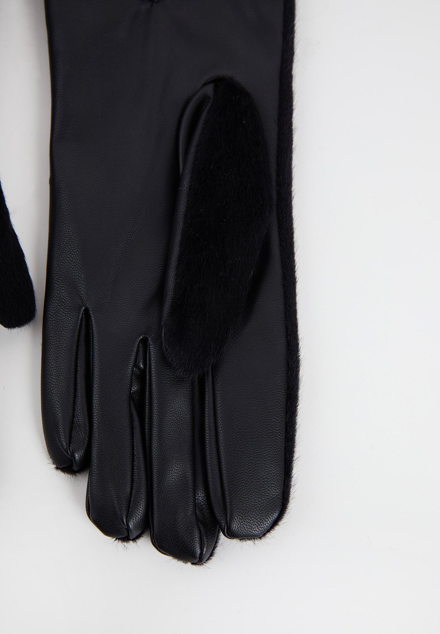 Bayan Siyah Suni Kürk Detaylı Deri Eldiven
