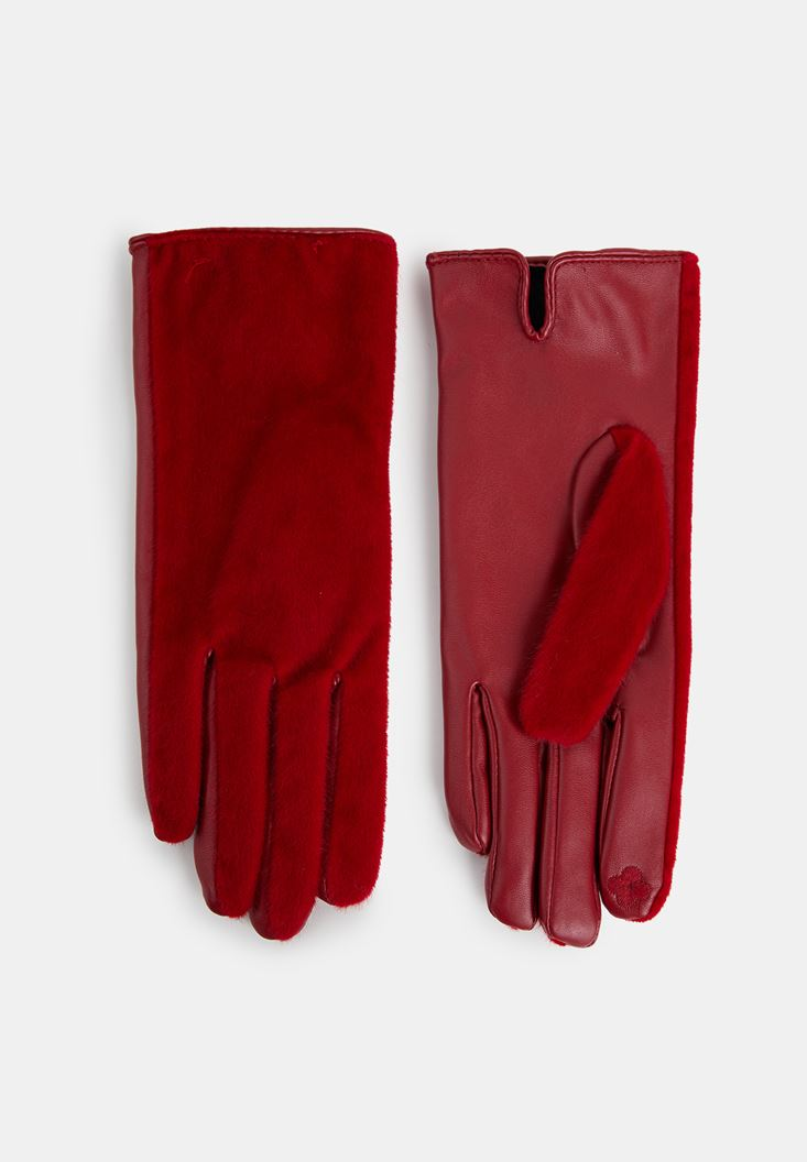 Red Leather Gloves with Fur Detail