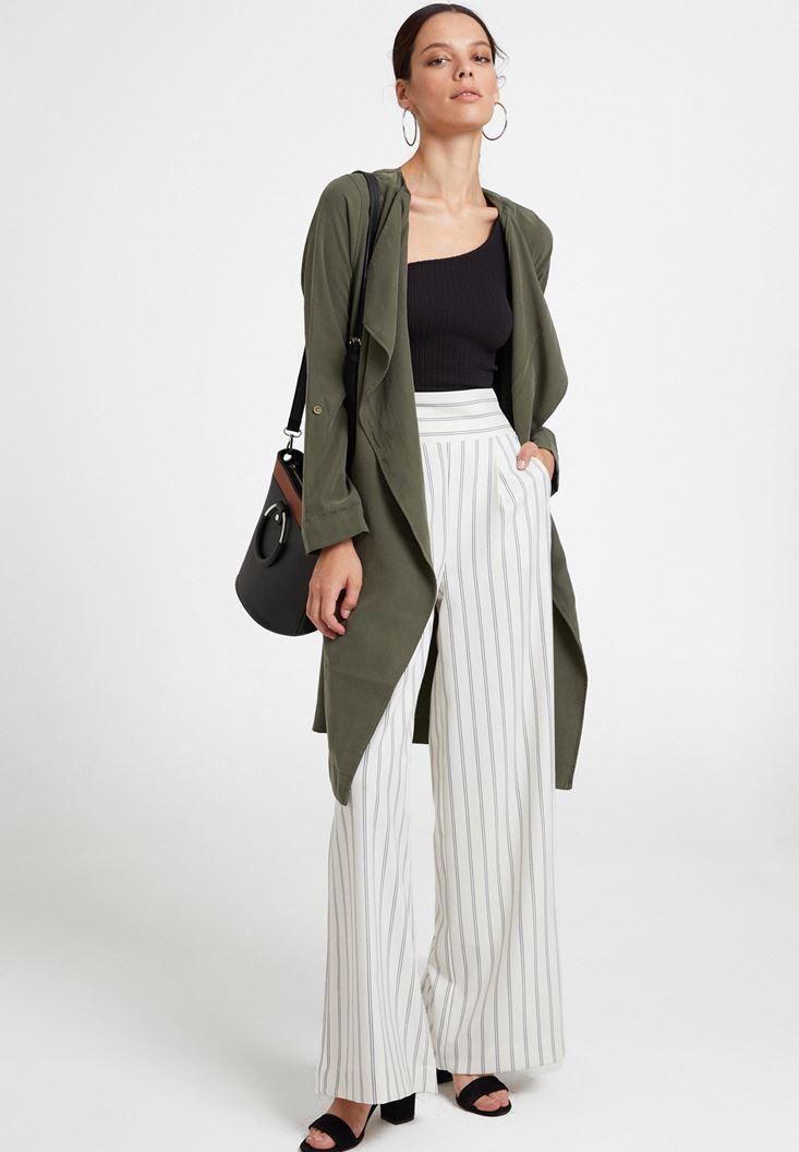 Yeşil Şal Yaka Uzun Ceket