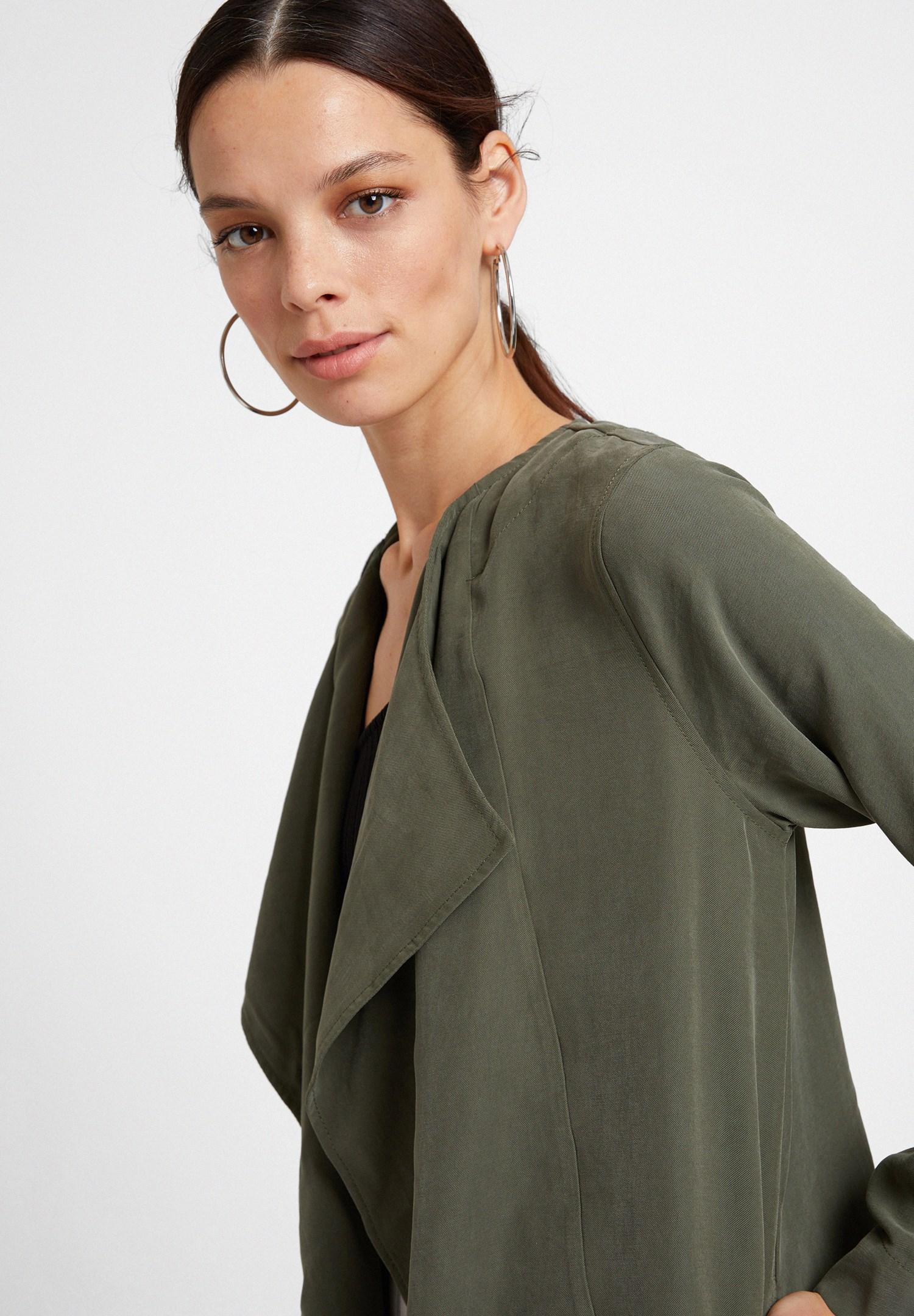 Bayan Yeşil Şal Yaka Uzun Ceket