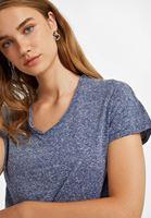 Bayan Lacivert Arkası Yırtmaçlı Tişört