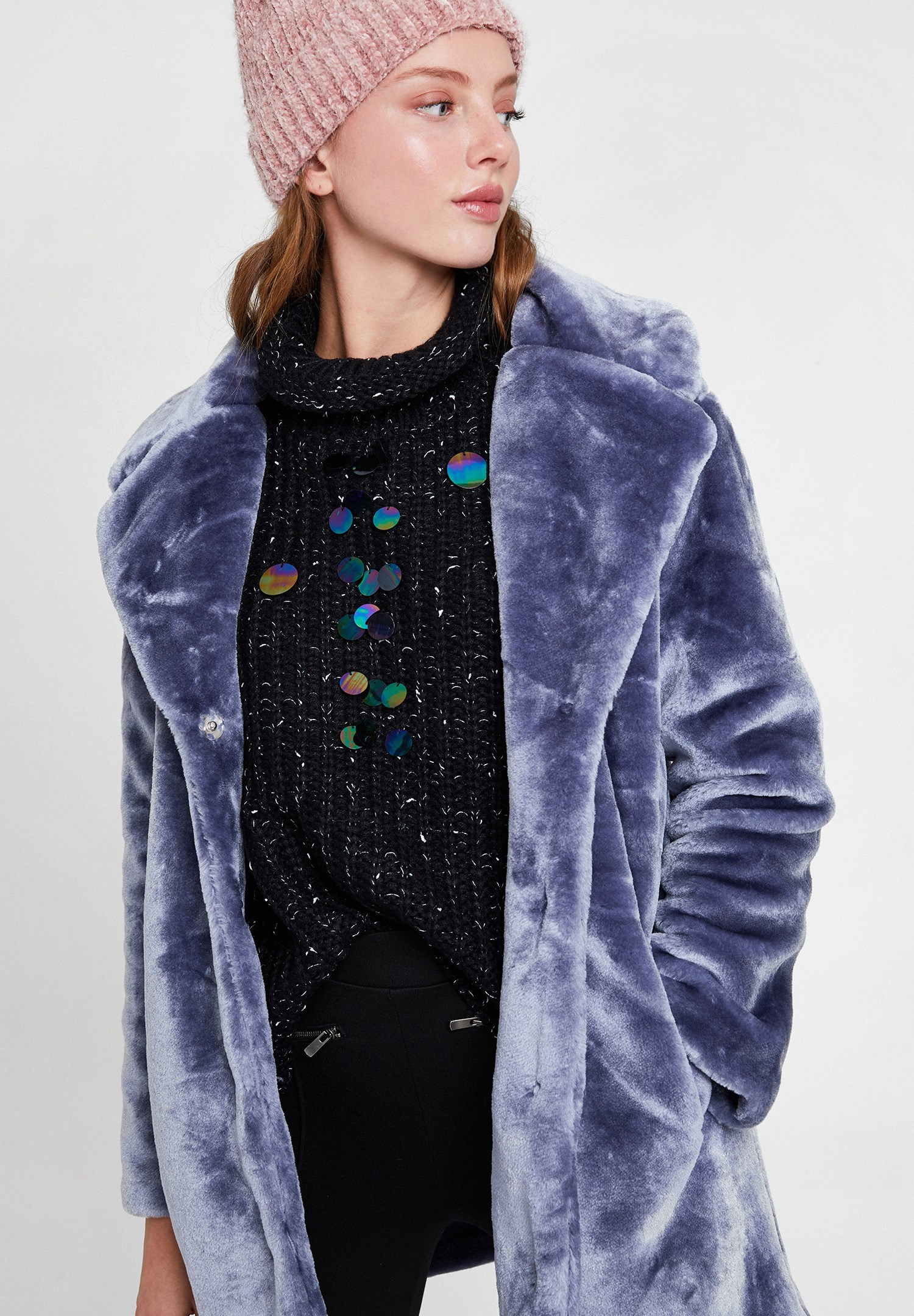 Women Blue Faux Fur Coat