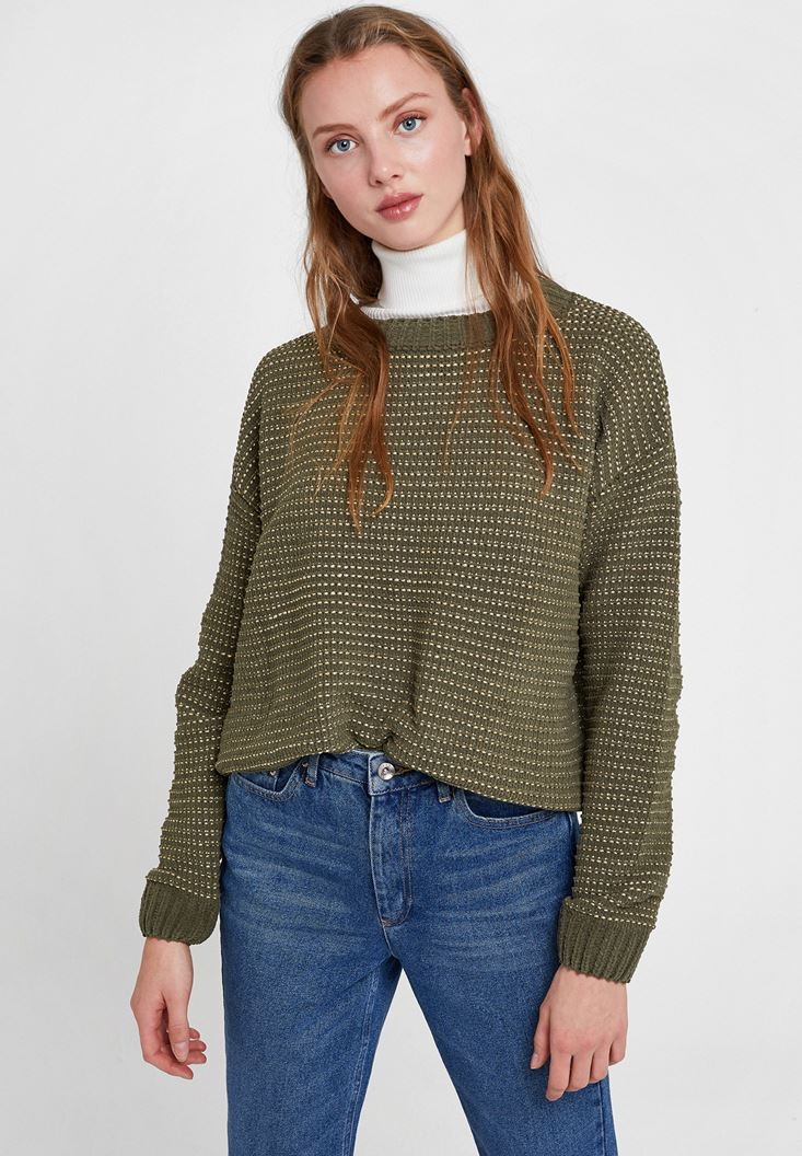 Mixed Striped Knitwear with Shiny