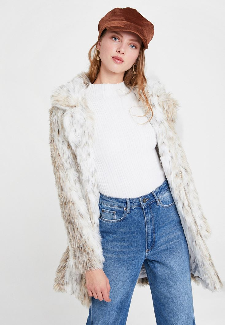 Mixed Faux Fur Jacket with Detail