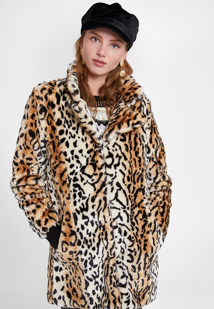 Brown Faux Fur Jacket with Leopard Pattern