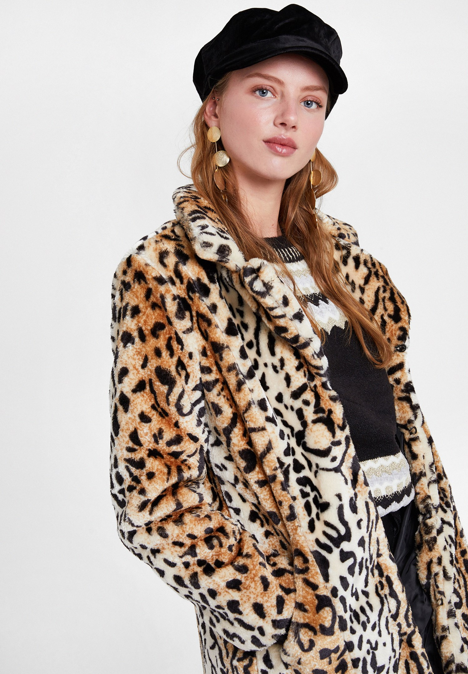 Women Brown Faux Fur Jacket with Leopard Pattern