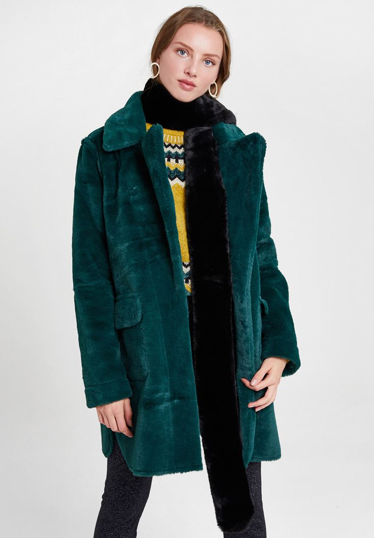 Green Two Side Faux Fur Coat