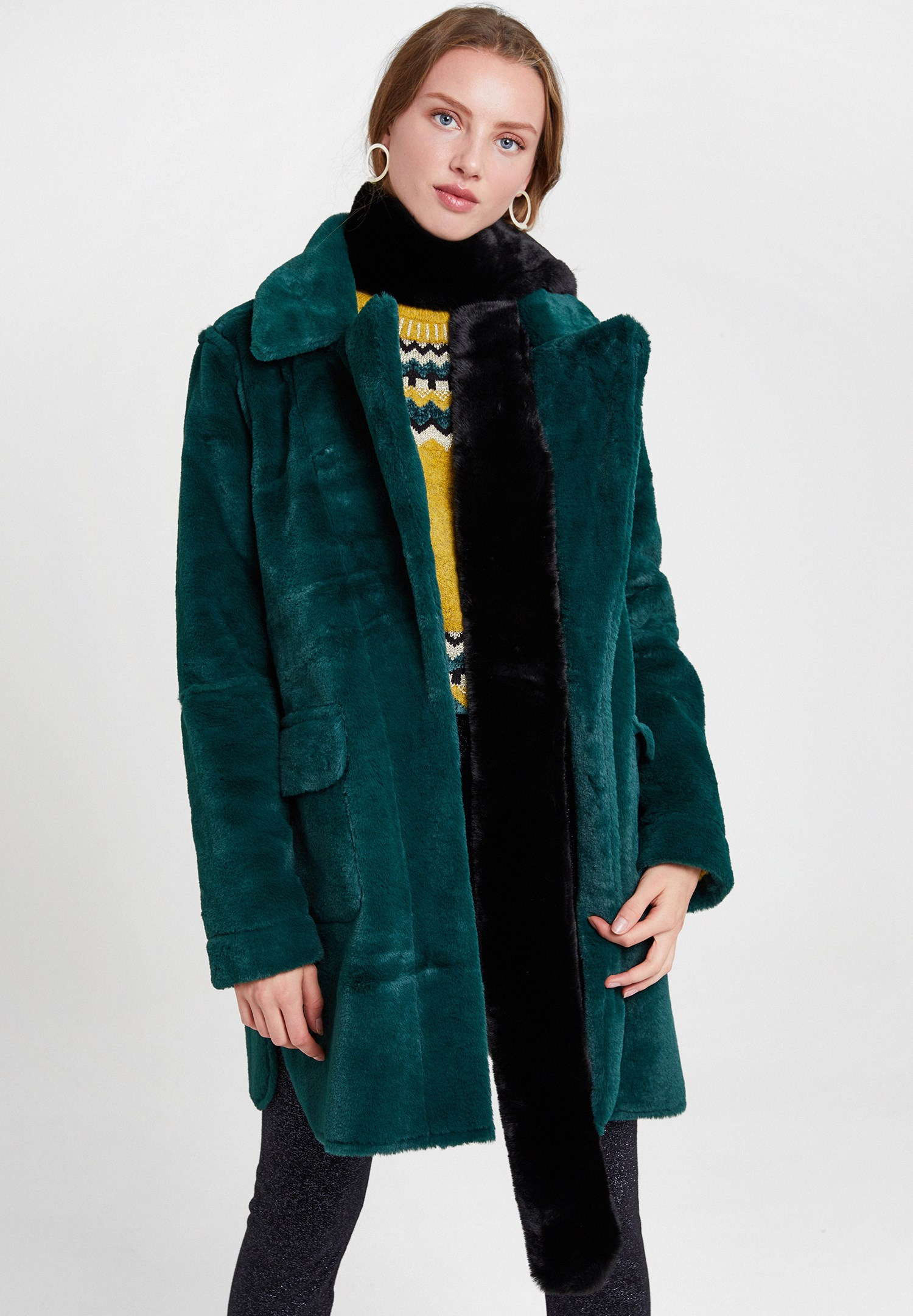 Bayan Yeşil Çift Taraflı Suni Kürk Kaban
