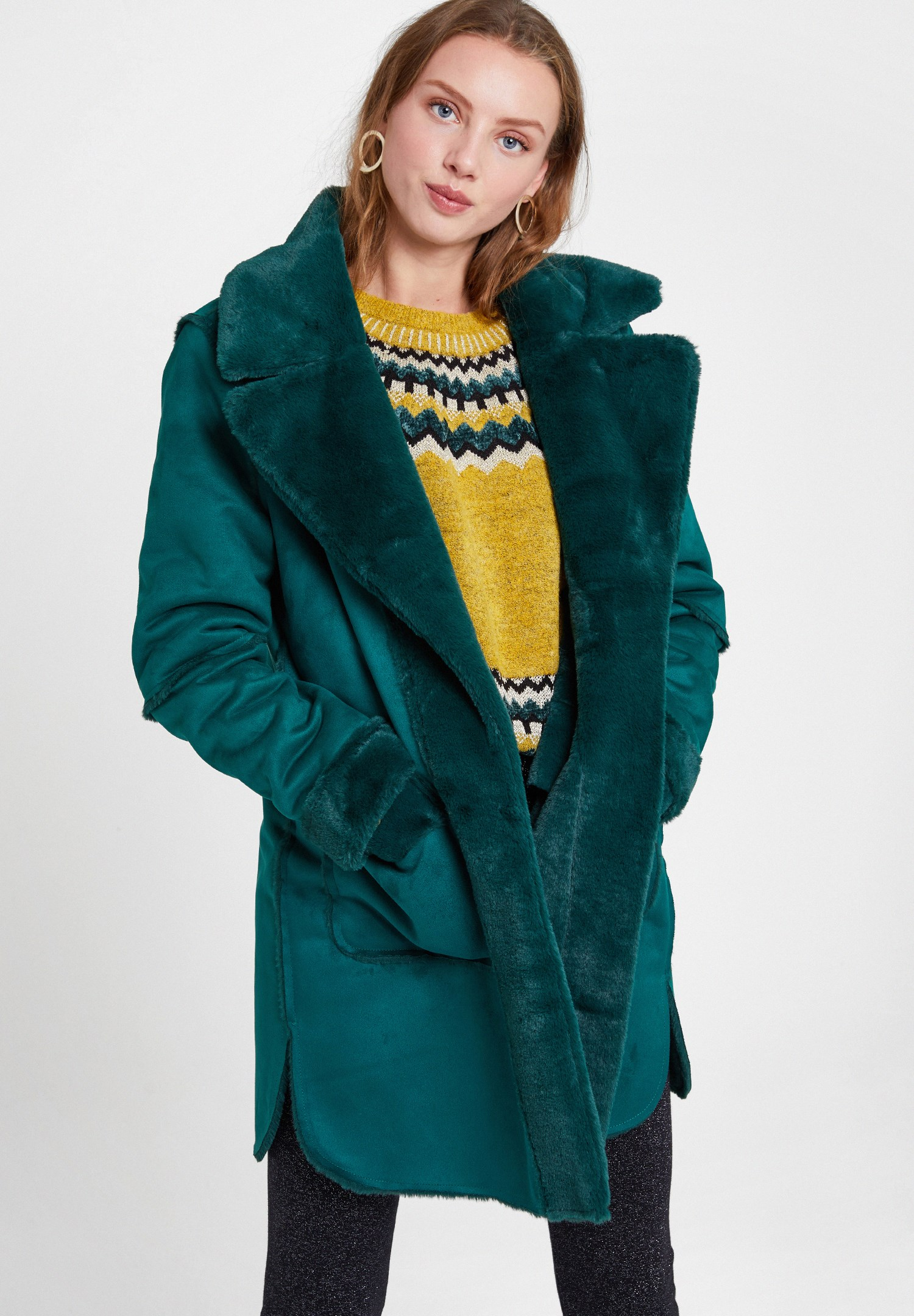 Women Green Two Side Faux Fur Coat